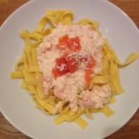 Spaghetti mit Lachs und Kren